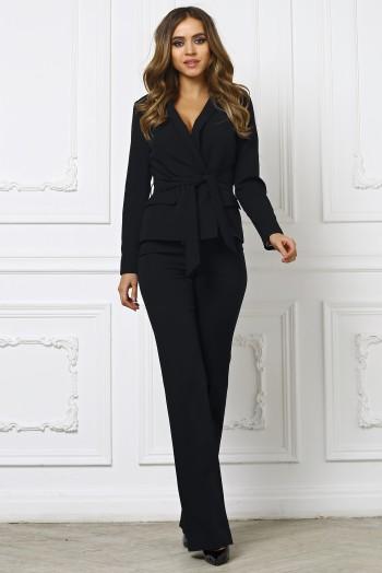 Брючный костюм с поясом черный