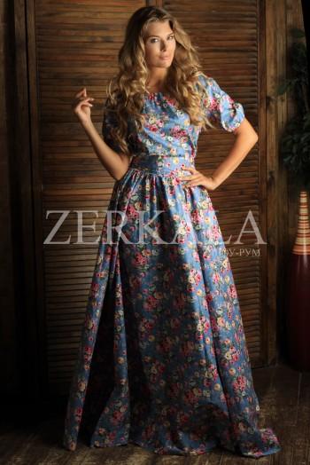 Голубое платье крестьянка в цветочек