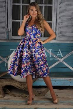 Летнее синее платье в цветочек