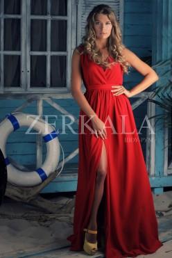 Красное шифоновое платье с вырезом на груди и разрезом на ноге