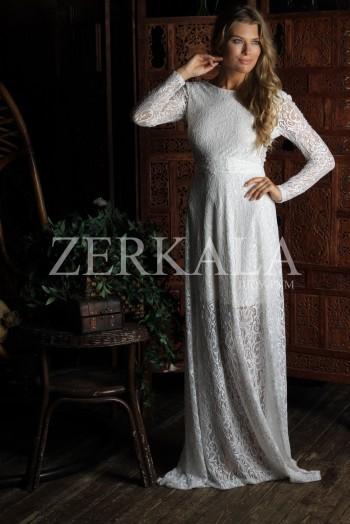 Белое кружевное вечернее платье в пол
