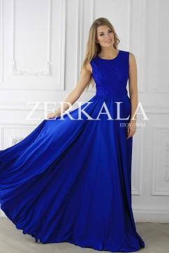 Синее комбинированное платье без рукавов