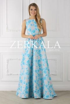Голубое платье из жаккарда без рукавов