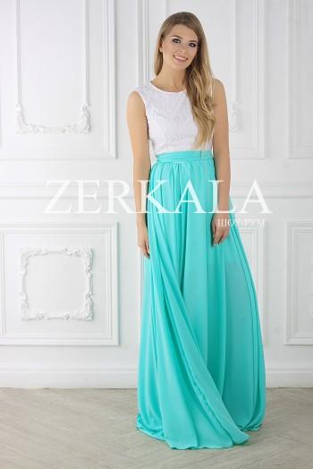 Комбинированное платье мятного цвета, верх белый