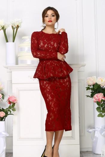 Кружевное платье миди со съёмной баской, цвет бордовый