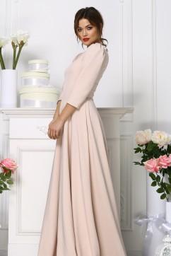 Вечернее платье в пол нежно-бежевого цвета