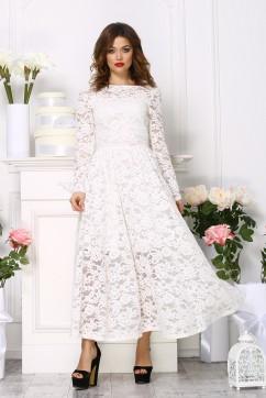 Кружевное платье  миди, цвет белый