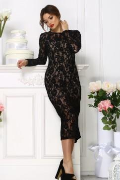 Кружевное платье миди со съёмной баской, цвет черный
