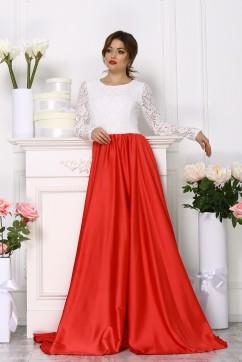 Комбинированное красно-белое платье с длинными рукавами