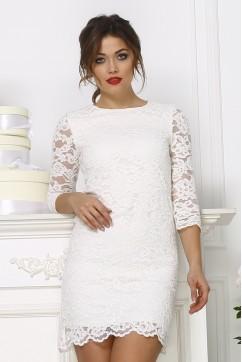 Белое короткое кружевное платье