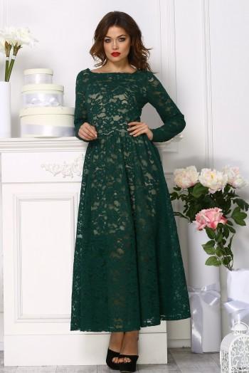 Кружевное платье  миди, цвет зеленый