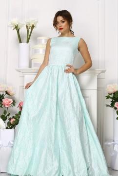 Ментоловое платье из жаккарда без рукавов