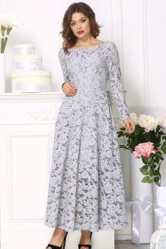 Кружевное платье  миди, цвет серый