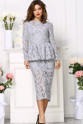 Кружевное платье миди со съёмной баской, цвет серый