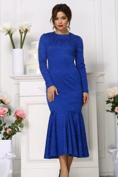 Платье рыбка миди из жаккара, цвет синий