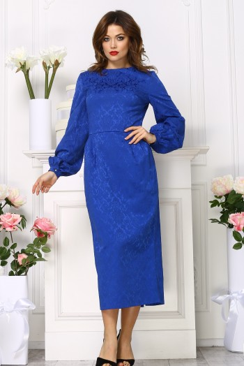 Синее платье карандаш миди из жаккарда