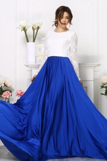 Комбинированное бело-синее платье с длинными рукавами