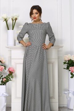 Теплое длинное платье цвет гусиная лапка