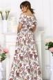 Белое платье из хлопка крестьянка в цветочек