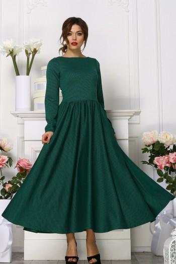 """Зеленое платье миди с пышной юбкой из ткани """"гусиная лапка"""""""
