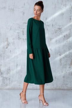 """Платье миди зеленого цвета из ткани """"гусиная лапка"""""""