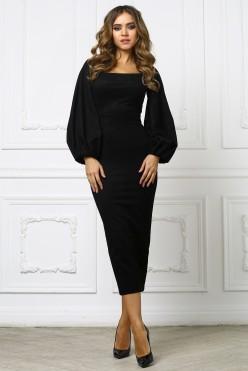 Черное платье миди с приспущенными плечами
