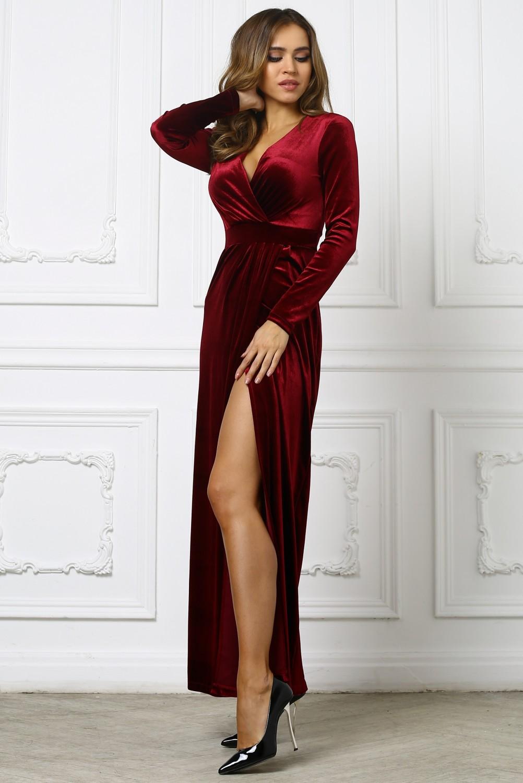 ddfe2211a7ec9a8 Бордовое бархатное платье с вырезом на ноге