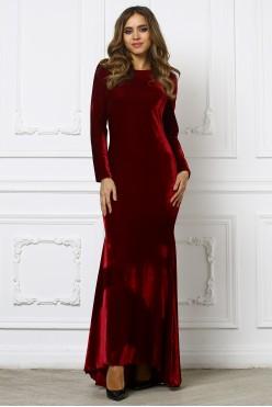 Вечернее бордовое бархатное платье с открытой спиной