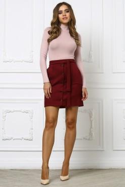 Бордовая юбка из замши с пуговками и поясом