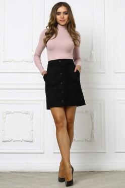 Черная юбка из замши с пуговками и поясом