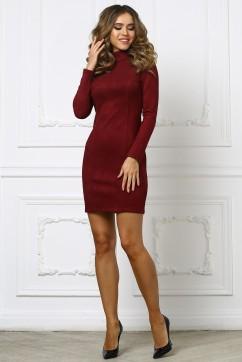 Бордовое короткое платье из замши со стойкой