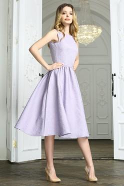 Сиреневое платье миди без рукавов из жаккарда