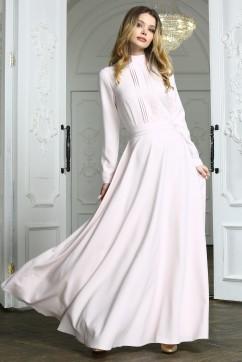 ae5943623b9 Бежевое вечернее платье в пол с полосками и длинными рукавами