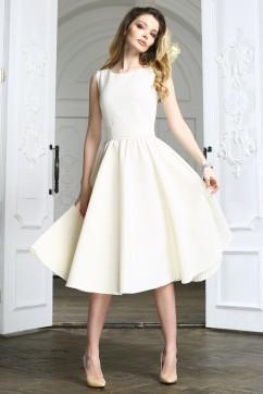 """Белое платье миди без рукавов в """"точку"""""""