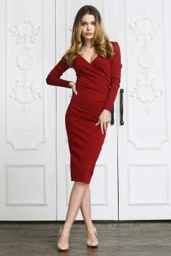 Бордовое платье миди с декольте