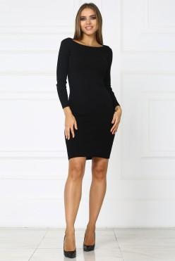 Черное короткое трикотажное платье