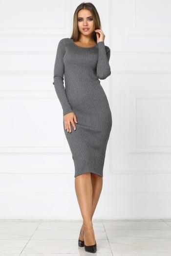 Серое теплое трикотажное платье миди
