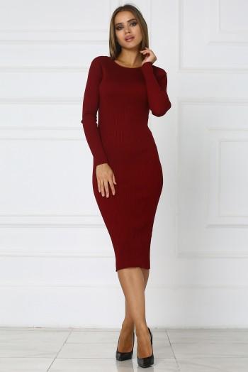Бордовое теплое трикотажное платье миди