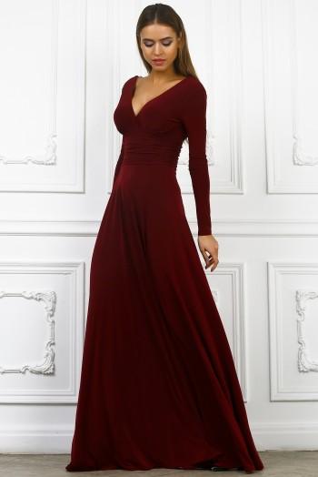 Вечернее платье c вырезом на груди в пол, цвет бордо