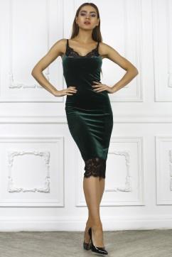 Зеленое платье комбинация с кружевом