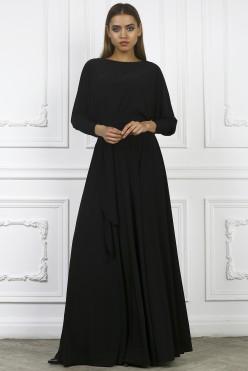 Платье с поясом в пол, цвет черный