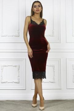 Бордовое платье комбинация с кружевом