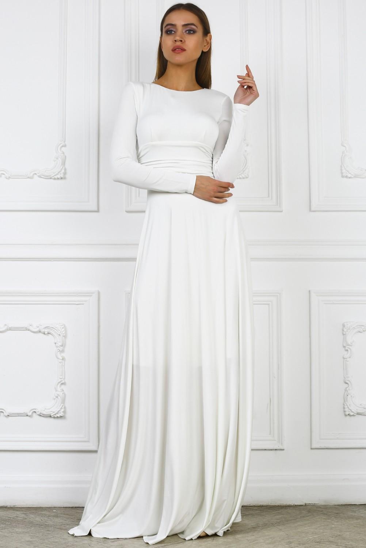 b91932bbf66 Шикарное вечернее белое платье в пол