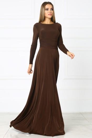 Вечернее платье в пол, цвет шоколадный