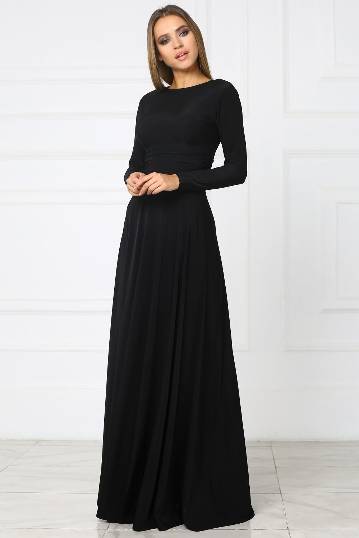 Черное Длинное Платье В Пол Купить