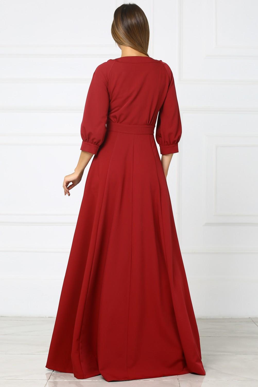 длинное бордовое платье купить