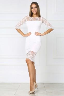 Белое платье миди из французского кружева