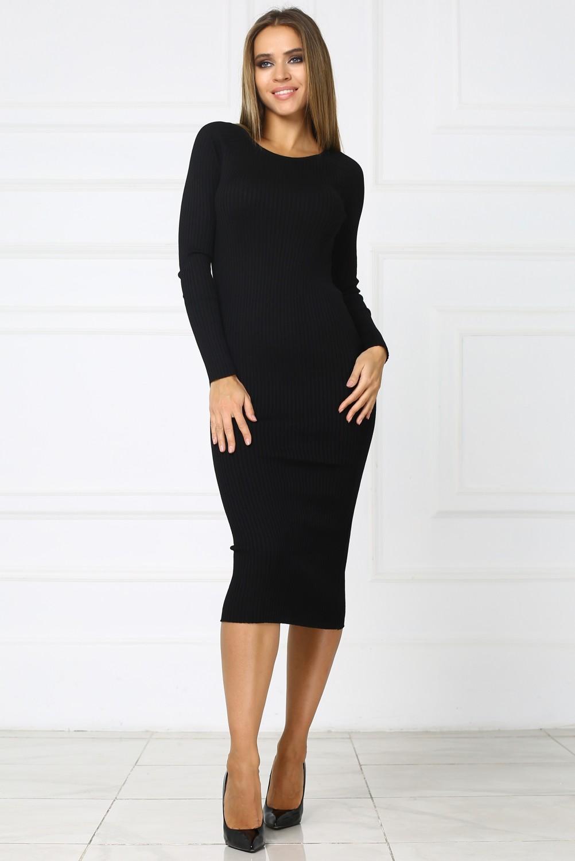 6a14e291a6b6c70 Купить черное теплое трикотажное платье миди