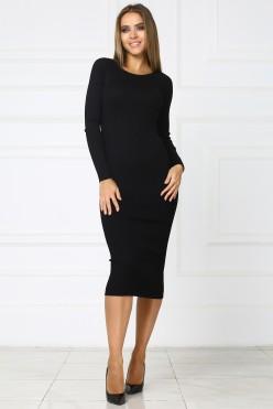 Черное теплое трикотажное платье миди