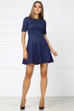 Короткое темно синее платье из замши